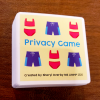 Privacy game deck showing front image on each card. Cartoon red two piece swimsuit and purple swim trunks with yellow background. Created by Sheryl Overby MS LIMHP 2020